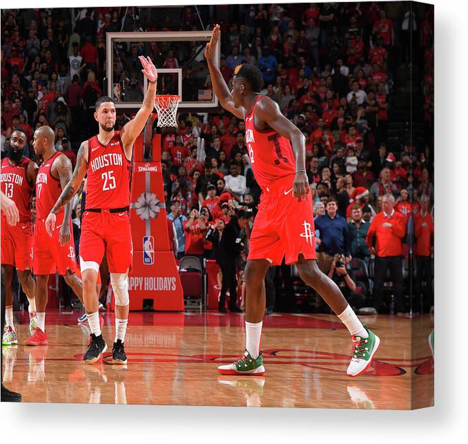 Nba Pro Basketball Canvas Print featuring the photograph Clint Capela and Austin Rivers by Bill Baptist