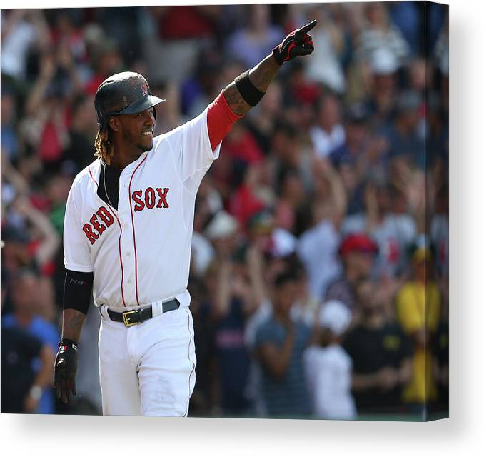 Three Quarter Length Canvas Print featuring the photograph Hanley Ramirez by Jim Rogash