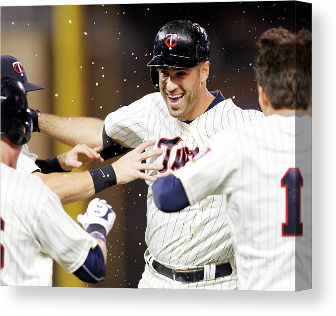 Joe Mauer Canvas Print featuring the photograph Joe Mauer by Andy King