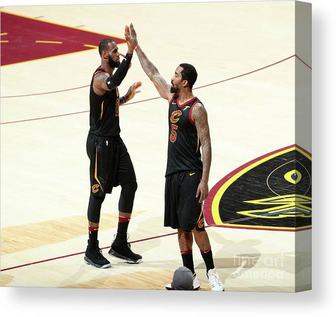 Playoffs Canvas Print featuring the photograph J.r. Smith and Lebron James by Nathaniel S. Butler
