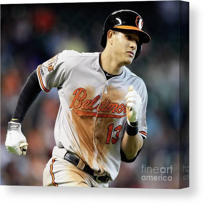 American League Baseball Canvas Print featuring the photograph Manny Machado by Bob Levey