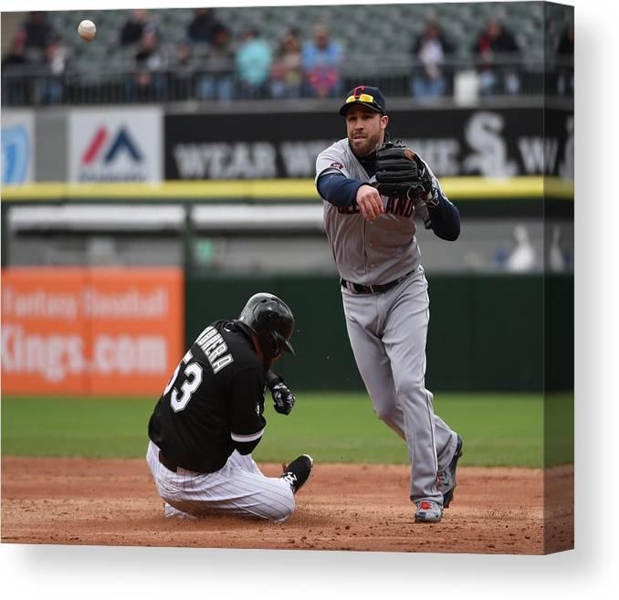 American League Baseball Canvas Print featuring the photograph Melky Cabrera and Jason Kipnis by David Banks