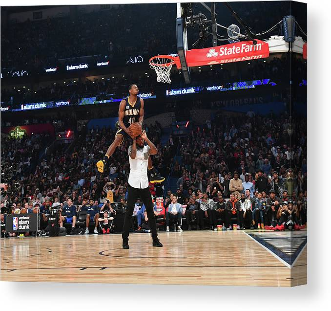 Event Canvas Print featuring the photograph Paul George and Glenn Robinson by Jesse D. Garrabrant
