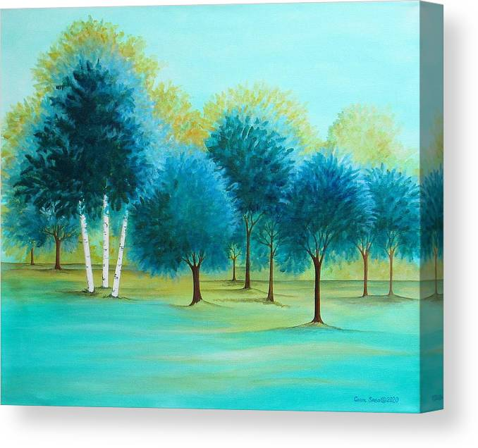 Social Spacing Canvas Print featuring the painting Three Birch Trees by Carol Sabo