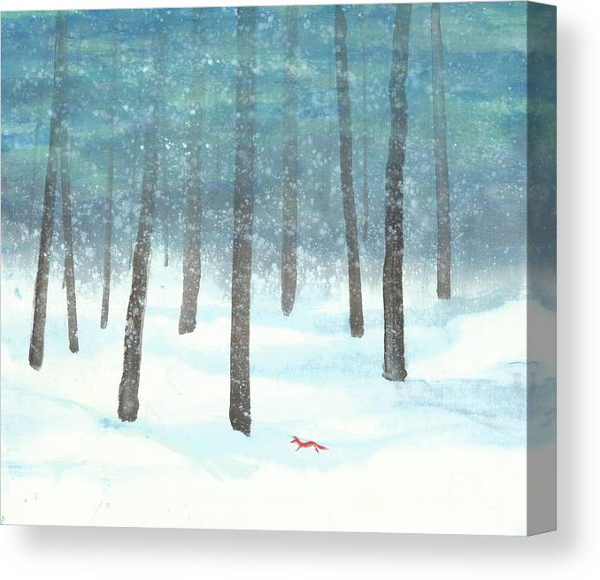 A Red Fox Wanders In A Snowy Forest. A Whisper Of The Great Silence Can Be Heard In The Winter Air. It's A Simple Contemporary Chinese Brush Painting On Rice Paper. Canvas Print featuring the painting Whisper of the Forest by Mui-Joo Wee