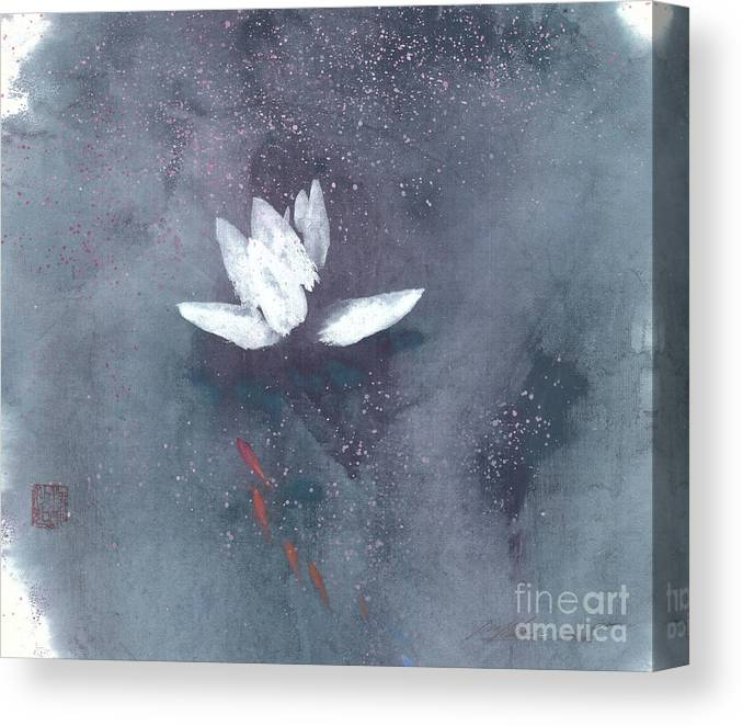A Brilliant Lotus In A Pond With Delightful Fish. It's A Simple Chinese Brush Painting On Rice Paper. Canvas Print featuring the painting White Lotus II by Mui-Joo Wee