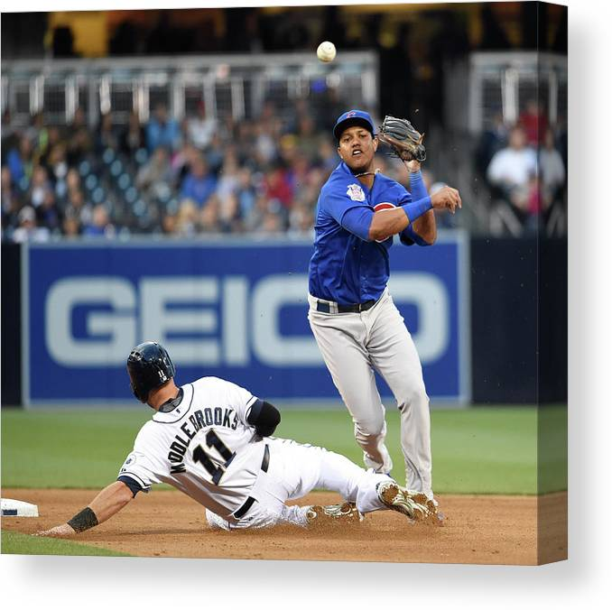Double Play Canvas Print featuring the photograph Will Middlebrooks and Starlin Castro by Denis Poroy