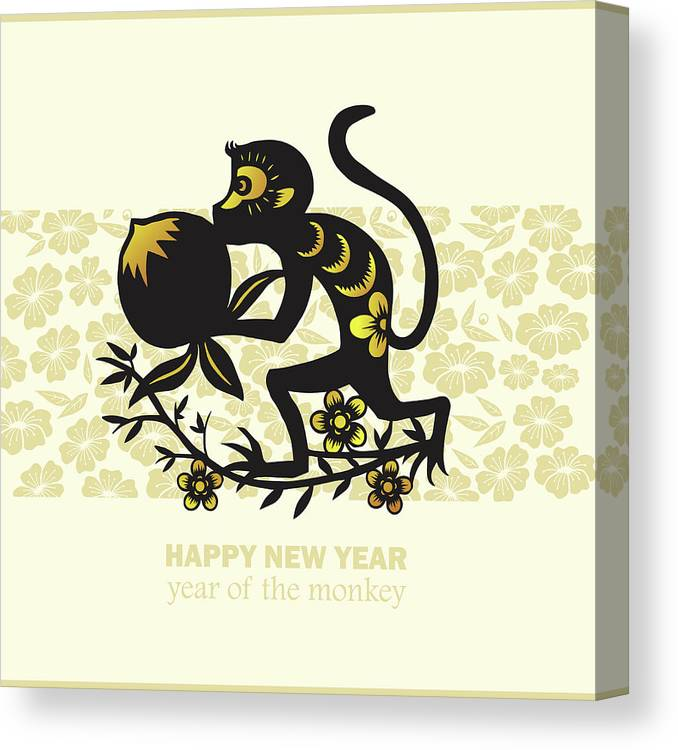 Chinese Culture Canvas Print featuring the digital art Happy New Year, Year Of The Monkey 2016 by Ly86