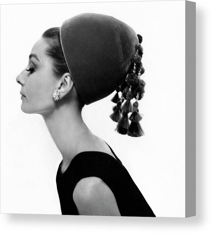 Audrey Hepburn Wearing A Givenchy Hat Canvas Print