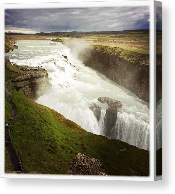 Gullfoss Canvas Print featuring the photograph Gullfoss waterfall Iceland by Matthias Hauser