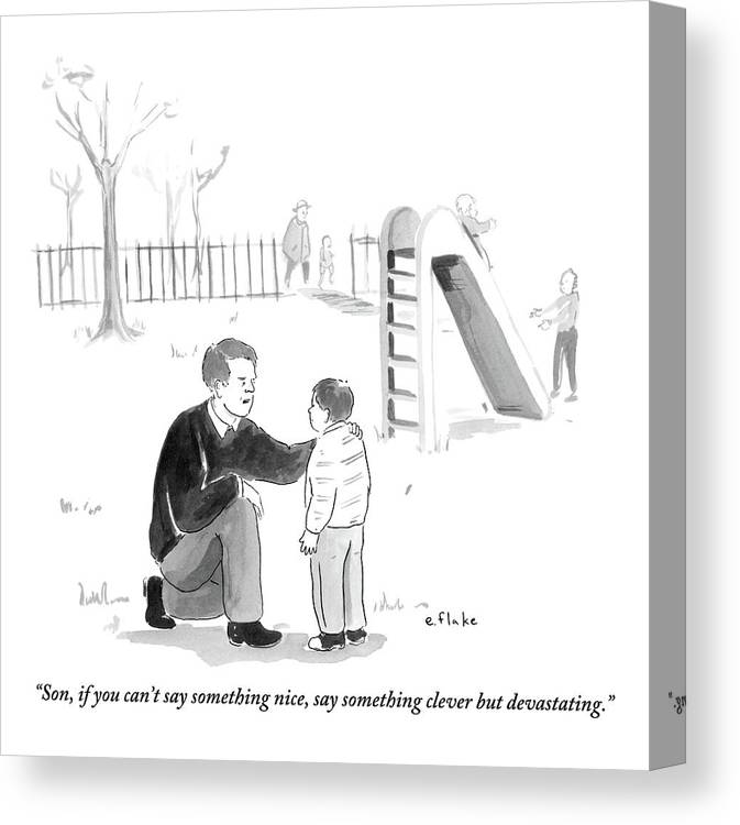 Advice Canvas Print featuring the drawing A Father Encourages His Son At The Playground by Emily Flake