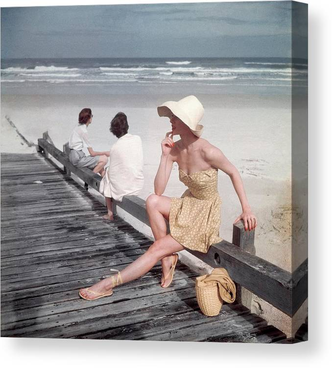 Accessories Canvas Print featuring the photograph A Model Sitting On A Ramp by Serge Balkin