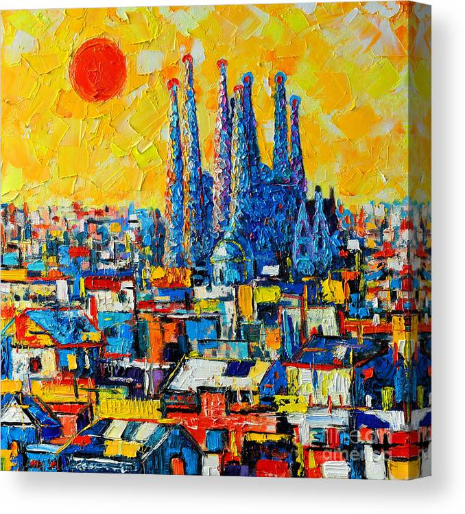 Barcelona Canvas Print featuring the painting Abstract Sunset Over Sagrada Familia In Barcelona by Ana Maria Edulescu