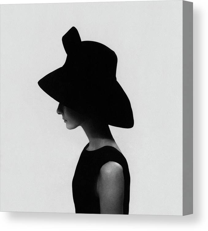 Accessories Canvas Print featuring the photograph Audrey Hepburn Wearing A Givenchy Hat by Cecil Beaton