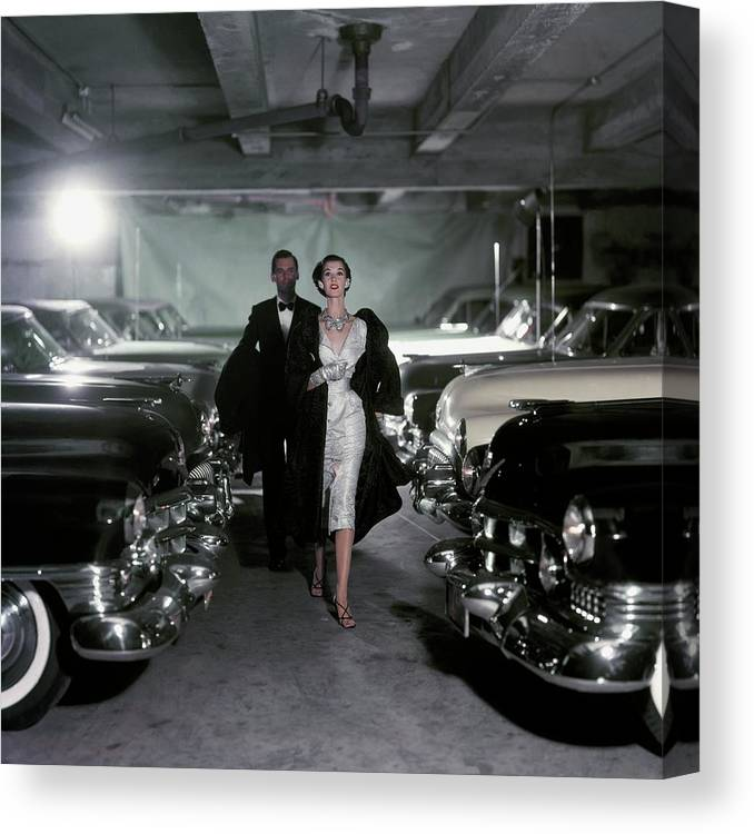 Fashion Canvas Print featuring the photograph Barbara Mullen With Cars by John Rawlings