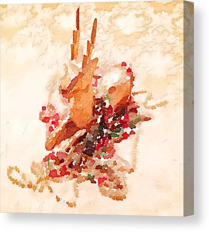 Beaded Reindeer Canvas Print featuring the digital art Beaded Reindeer by Shannon Grissom