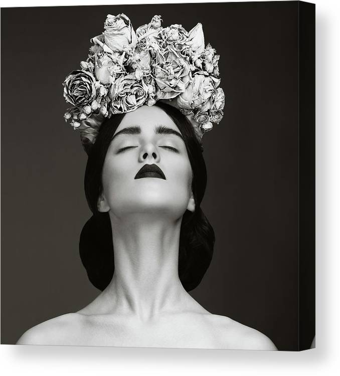 Crown Canvas Print featuring the photograph Beautiful Woman With Wreath Of Flowers by Lambada