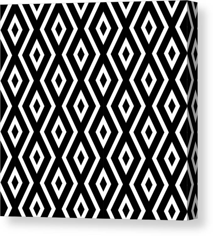 Black And White Canvas Print featuring the mixed media Black and White Pattern by Christina Rollo