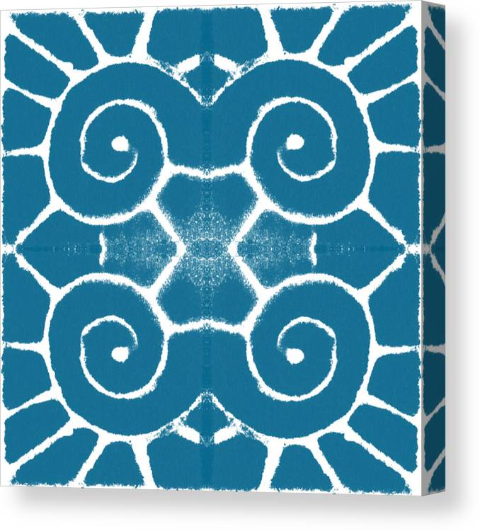 Wave Canvas Print featuring the painting Blue and White Wave Tile- abstract art by Linda Woods