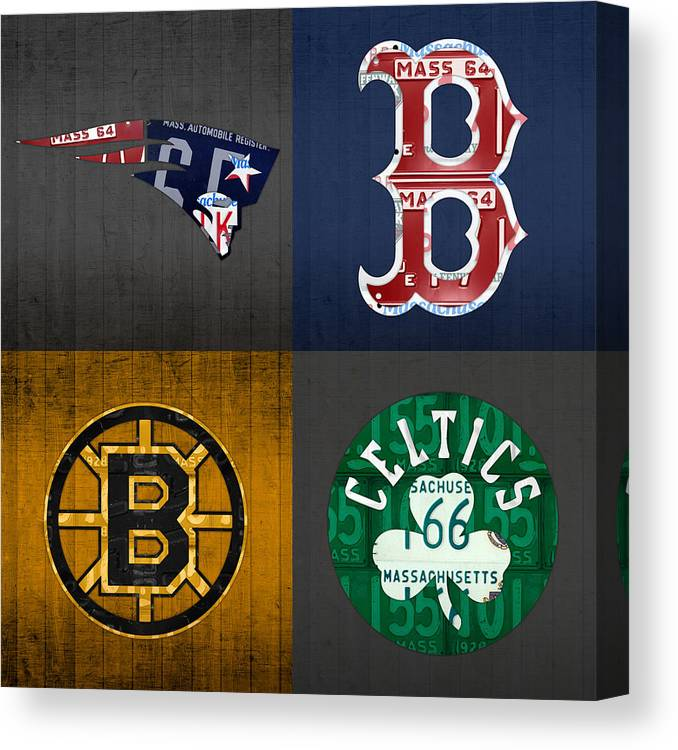 Boston Sports Fan Recycled Vintage Massachusetts License Plate Art Patriots Red Sox Bruins Celtics Canvas Print Canvas Art By Design Turnpike