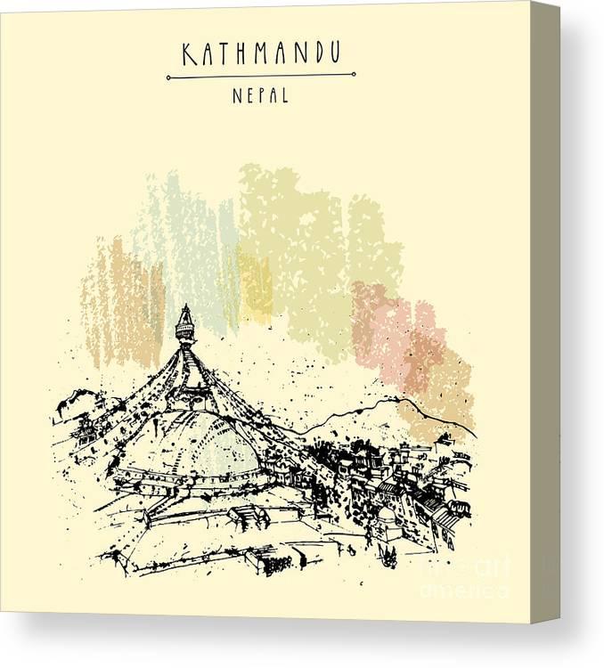 Symbol Canvas Print featuring the digital art Boudhnath, Boudha. Tibetan Temple In by Babayuka