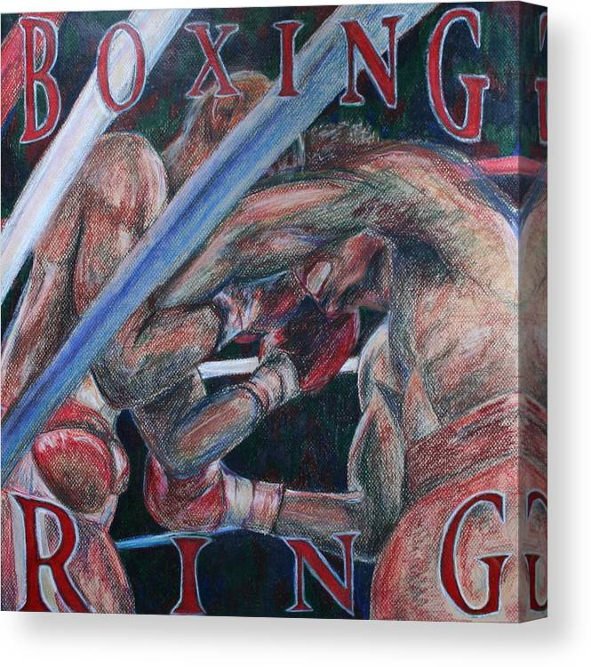 Boxing Canvas Print featuring the drawing Boxing Ring by Kate Fortin