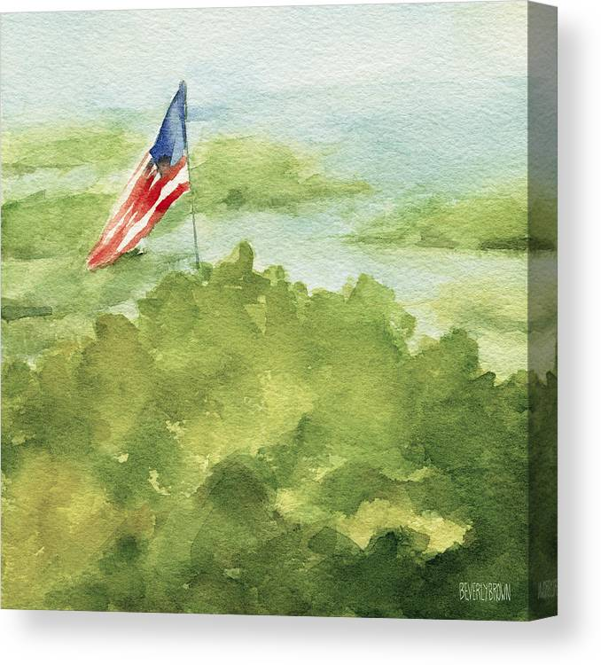 Coastal Canvas Print featuring the painting Cape Cod Beach with American Flag Painting by Beverly Brown
