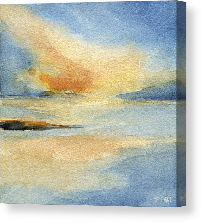 Seascape Canvas Print featuring the painting Cape Cod Sunset Seascape Painting by Beverly Brown