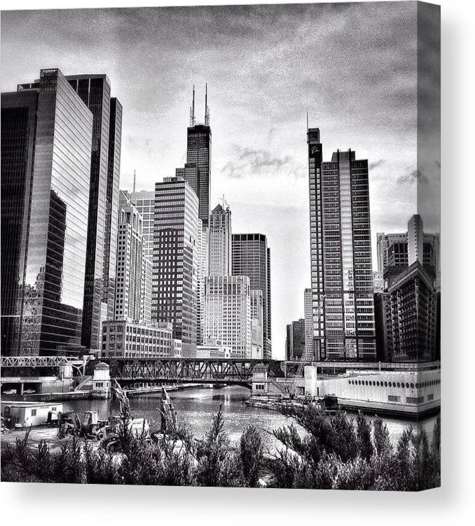 America Canvas Print featuring the photograph Chicago River Buildings Black and White Photo by Paul Velgos