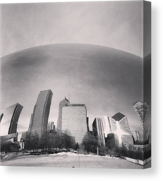 America Canvas Print featuring the photograph Cloud Gate Chicago Skyline Reflection by Paul Velgos