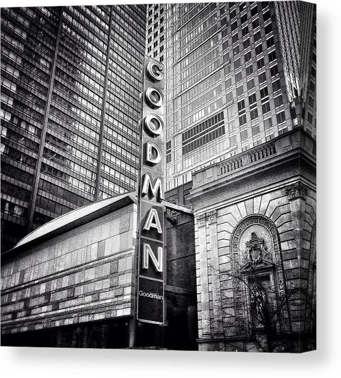 America Canvas Print featuring the photograph Chicago Goodman Theatre Sign Photo by Paul Velgos