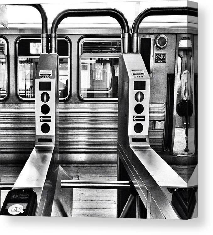 Chicagogram Canvas Print featuring the photograph Chicago L Train Gate In Black And White by Paul Velgos