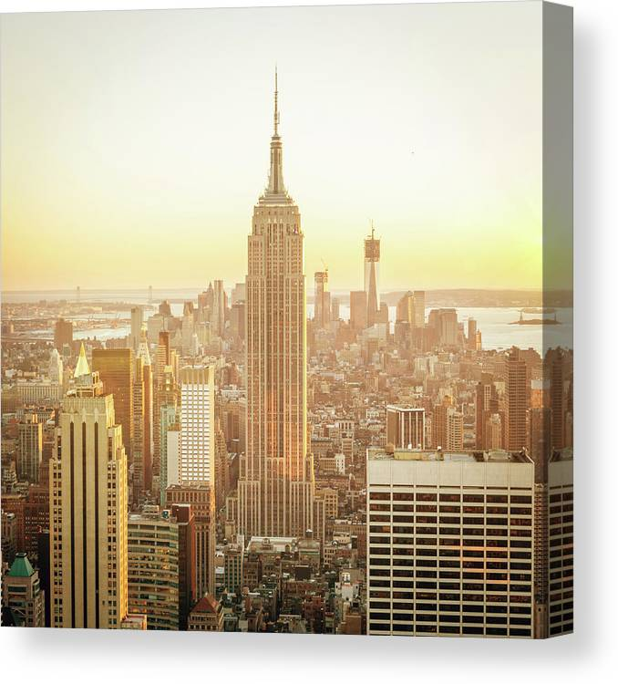 Scenics Canvas Print featuring the photograph Cityscape Manhattan Sunset New York by Mlenny