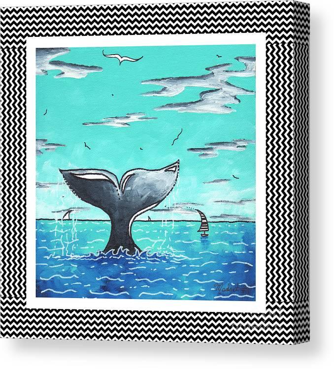 Coastal Nautical Decorative Art Original Painting Whale Tail Chevron Pattern Sea Farer By Madart Canvas Print Canvas Art By Megan Duncanson
