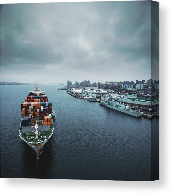 Freight Transportation Canvas Print featuring the photograph Container Ship In Halifax Harbour by Shaunl