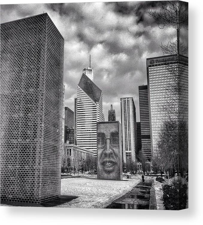 America Canvas Print featuring the photograph Chicago Crown Fountain Black and White Photo by Paul Velgos