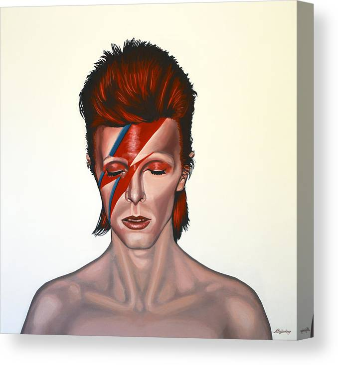 David Bowie Canvas Print featuring the painting David Bowie Aladdin Sane by Paul Meijering
