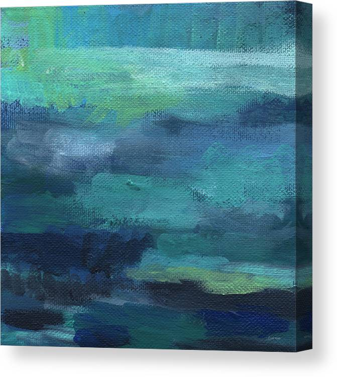 Blue Canvas Print featuring the painting Tranquility- abstract painting by Linda Woods