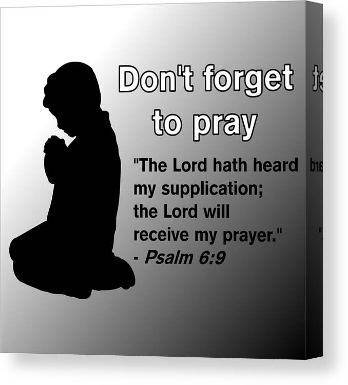 Praying Child Canvas Print featuring the drawing Don't Forget to Pray Praying Child by Pharris Art