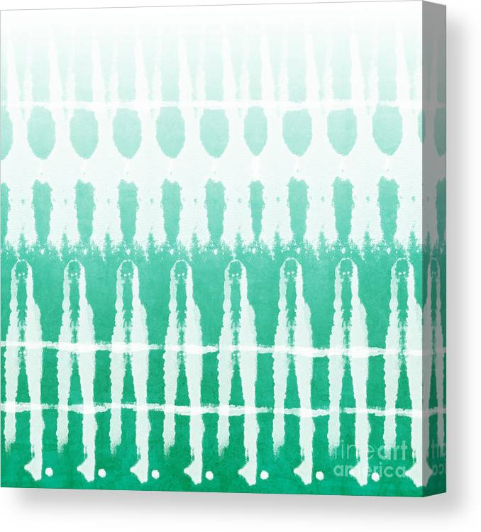 Abstract Canvas Print featuring the painting Emerald Ombre by Linda Woods