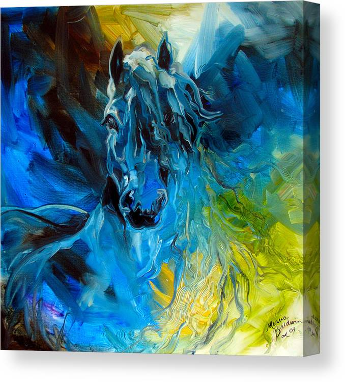 Horse Canvas Print featuring the painting Equus Blue Ghost by Marcia Baldwin