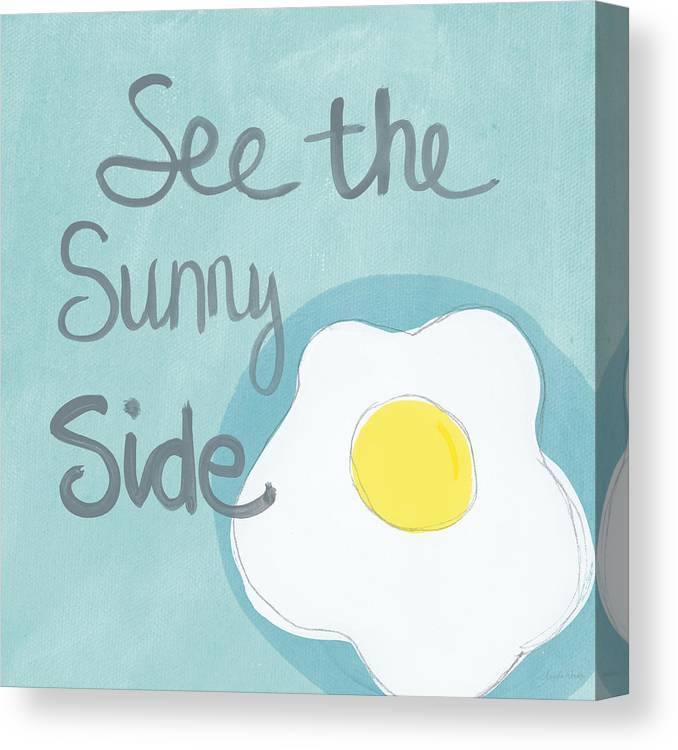 Egg Canvas Print featuring the painting Food- Kitchen Art- Eggs- Sunny Side Up by Linda Woods