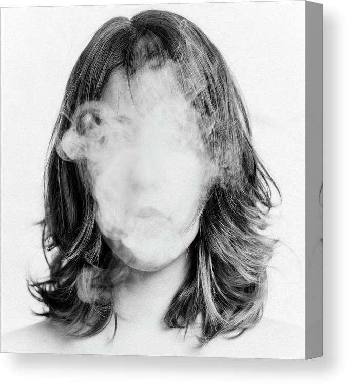 People Canvas Print featuring the photograph Girl Smoking by Lita Bosch