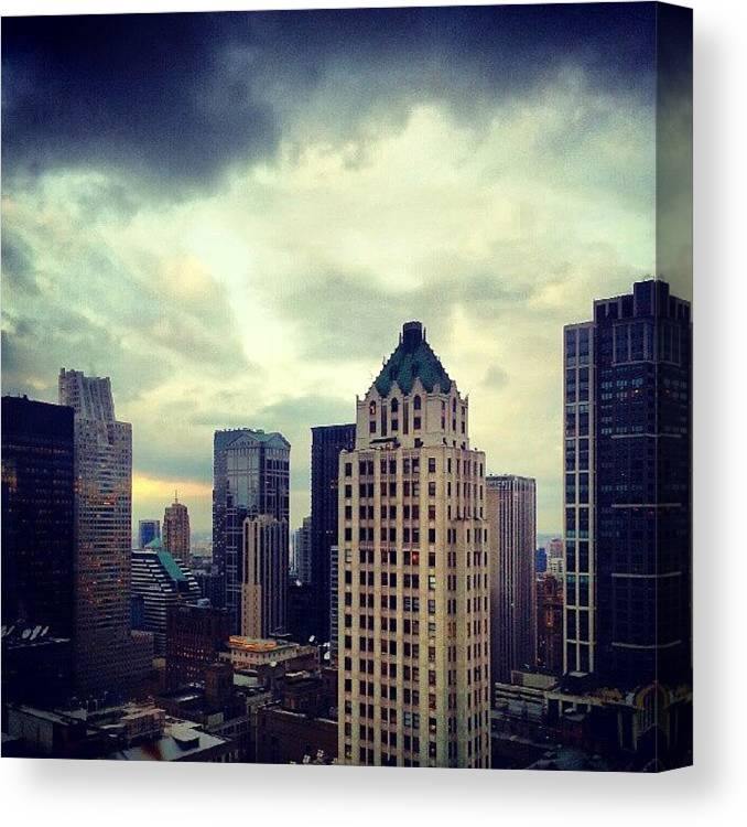 Chicago Canvas Print featuring the photograph Gloomy Day Out There by Jill Tuinier