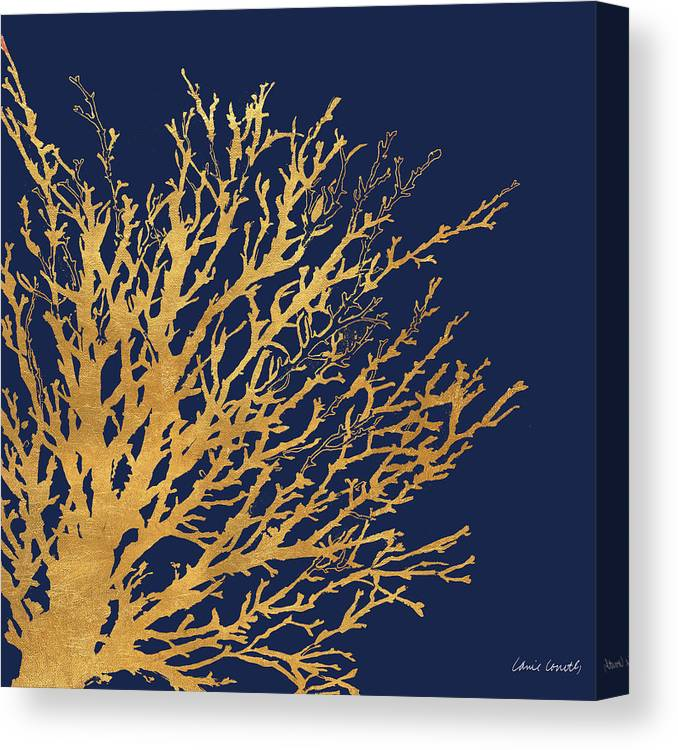 Gold Canvas Print featuring the mixed media Gold Medley On Navy by Lanie Loreth