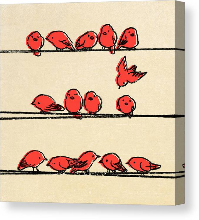 Birds Canvas Print featuring the drawing Hanging Out by Eric Fan
