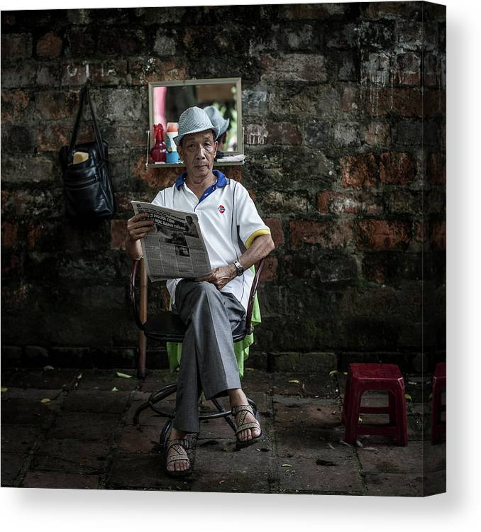 Smoke Canvas Print featuring the photograph Hanois Street Style Barbers by Chris Mcgrath
