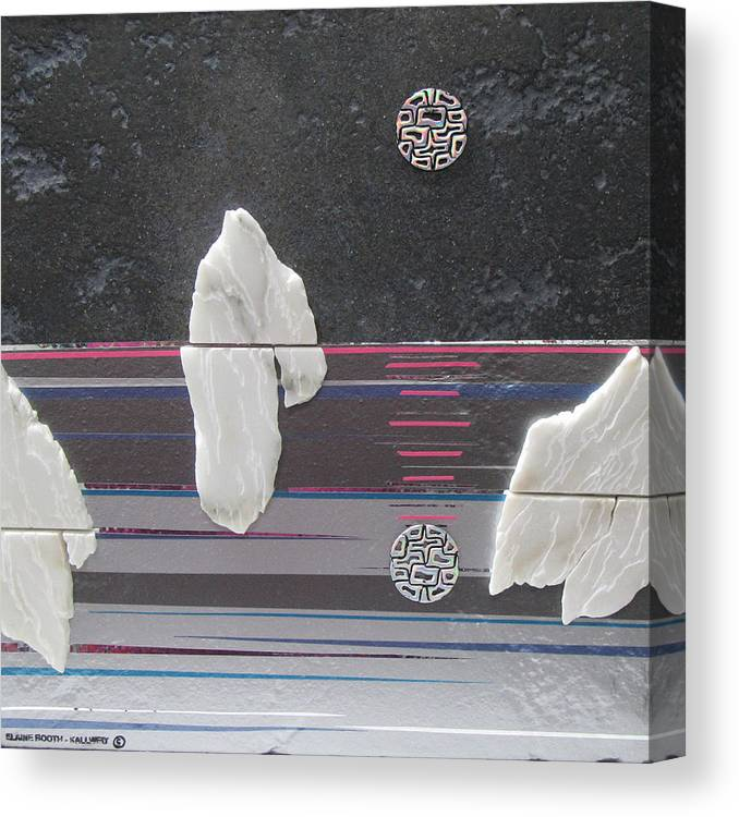 Assemblage Canvas Print featuring the mixed media Ice Bergs by Elaine Booth-Kallweit