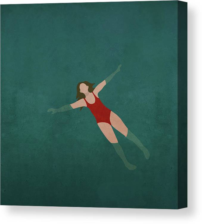 Tranquility Canvas Print featuring the digital art Illustration Of Woman Swimming In Water by Malte Mueller