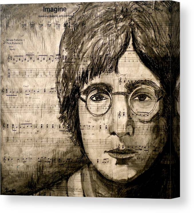 Imagine Canvas Print featuring the drawing Imagine by Debi Starr